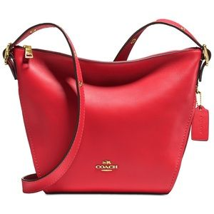 COACH Red Leather/gold accent crossbody handbag!!